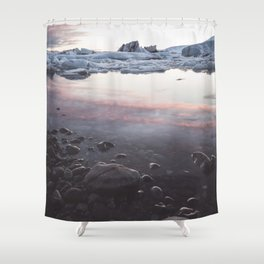 Jokulsarlon Lagoon - Sunset - Landscape and Nature Photography Shower Curtain