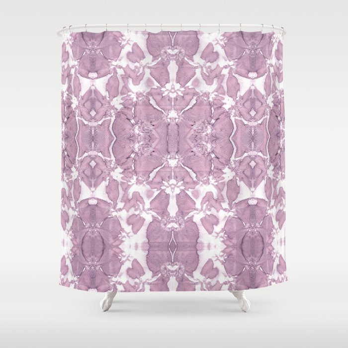 Shibori Rose Crepe De Chine Shower Curtain