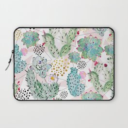 Modern triangles and hand paint cactus pattern Laptop Sleeve