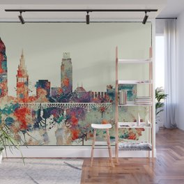 Cleveland City Skyline Wall Mural