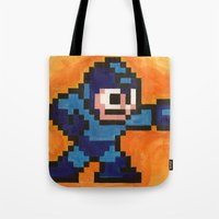 mega man Tote Bags featuring Mega Man by Alison Hinch