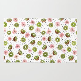 Kiwis with blush pink flowers and black dots watercolor Rug