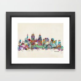 Cincinnati Ohio skyline Framed Art Print