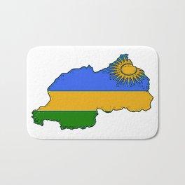 Rwanda Map with Rwandan Flag Bath Mat