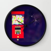 gumball Wall Clocks featuring Super Moon Gumball Machine by Mel Moongazer