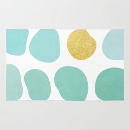 Aqua Pebbles & gold Rug