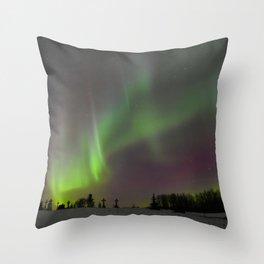 Winter Aurora Borealis Throw Pillow