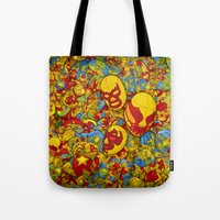 mucha Tote Bags featuring Mucha Lucha by Guilherme Marconi