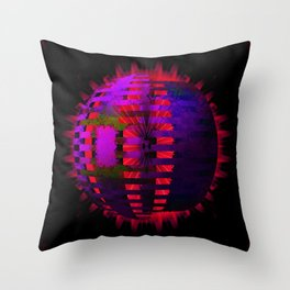 Purple Layered Star in Red Flames Throw Pillow