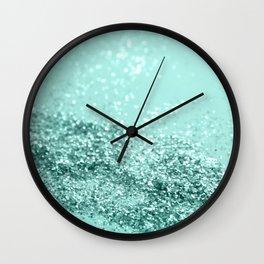 Summer Vibes Glitter #7 #mint #shiny #decor #art #society6 Wall Clock
