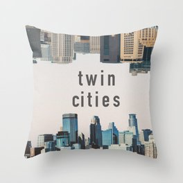 Twin Cities Minneapolis and Saint Paul Minnesota Skylines Throw Pillow