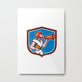American Football Quarterback Bullhorn Shield Cartoon Metal Print