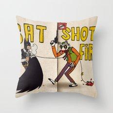 BAT SHOT FIRST Throw Pillow