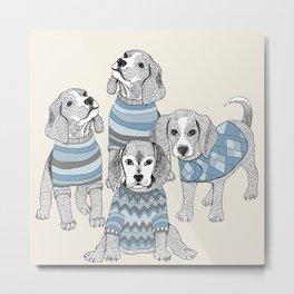 Blue Beagles Metal Print