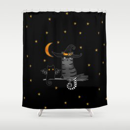 Magic Whitch cat in a hat and her black cat-bat for Halloween Shower Curtain