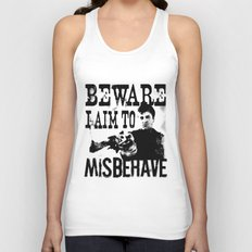 I aim to misbehave Unisex Tank Top
