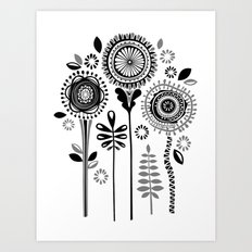 Folksy Flowerheads Art Print
