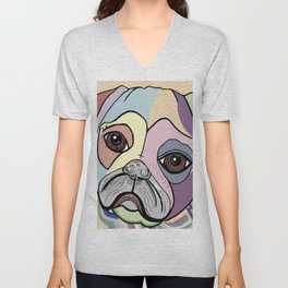 PUG in DENIM Tones Unisex V-Neck
