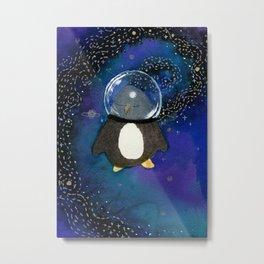Penguin in Space Metal Print