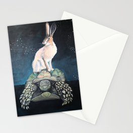 Midnight Tortoise and Hare Stationery Cards