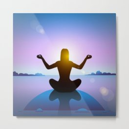 Yoga Studio Calming Purple / Blue Padmasana Pose Metal Print