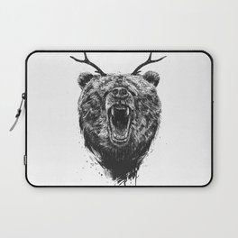 Angry bear with antlers Laptop Sleeve