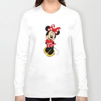 minnie mouse Long Sleeve T-shirts featuring Cute Minnie Mouse by Yuliya L