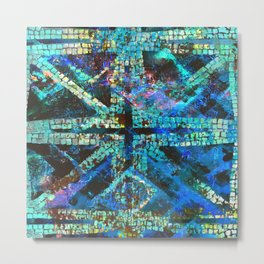 Abstract Starburst Tile in Teal Metal Print
