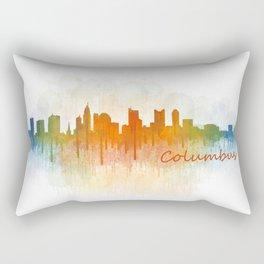 Columbus Ohio, City Skyline, watercolor  Cityscape Hq v3 Rectangular Pillow
