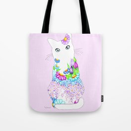 Blue-Eyed Lilac Kitty Tote Bag