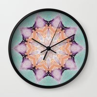 snowflake Wall Clocks featuring snowflake by patternization