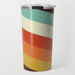 Renpet - Colorful Classic Abstract Minimal Retro 70s Style Stripes Design Travel Mug