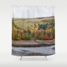 Autumnal trees at Derwent Reservoir. Derbyshire, UK. Shower Curtain