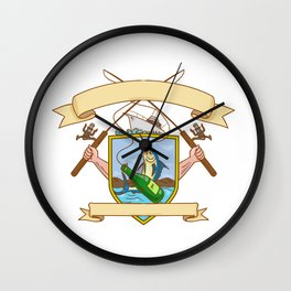 Fishing Rod Reel Hooking Blue Marlin Ribbon Coat of Arms Drawing Wall Clock