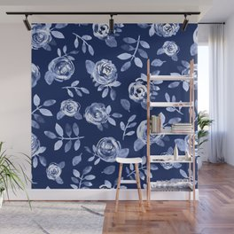 Hand painted navy blue white watercolor floral roses pattern Wall Mural