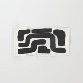 Black Ink Paint Brush Strokes Abstract Organic Pattern Mid Century Style Hand & Bath Towel