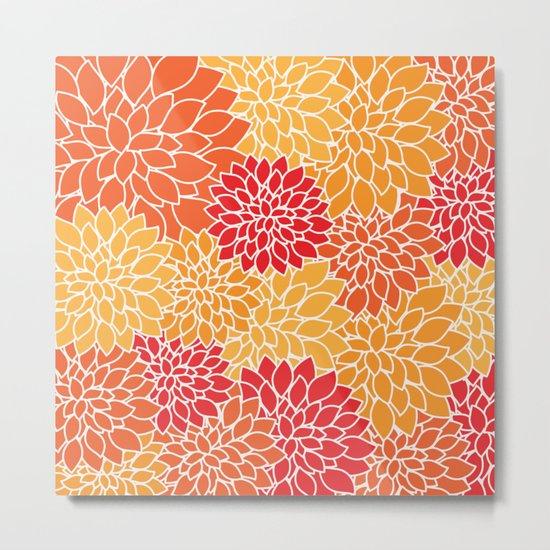 Shades of Orange Flower Pattern - Floral Art Metal Print