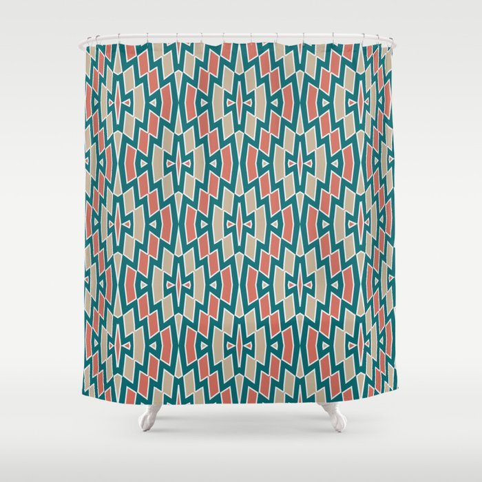 Fragmented Diamond Pattern In Teal Coral And Tan Shower Curtain By Fischerfinearts