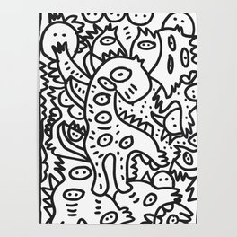 Cool Graffiti Art Dinosaur Black and White  Poster