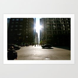 Sun Between Buildings Art Print