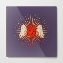 Flying Heart Metal Print