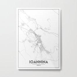 Minimal City Maps - Map Of Ioannina, Greece. Metal Print