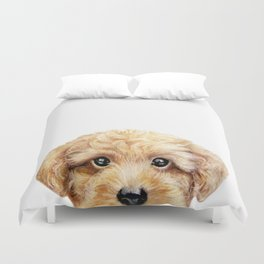 Toy poodle Dog illustration original painting print Duvet Cover