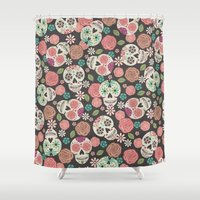 sugar skulls Shower Curtains featuring Sugar Skulls by Bohemian Gypsy Jane