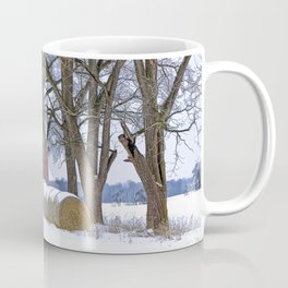 Red Barn in Winter with Hay Bales Coffee Mug