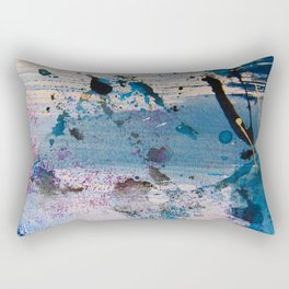 View from the Top: a pretty, minimal abstract piece in blue gold and white by Alyssa Hamilton Art Rectangular Pillow