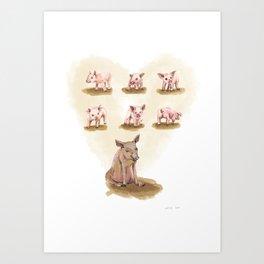 Free range piggies Art Print
