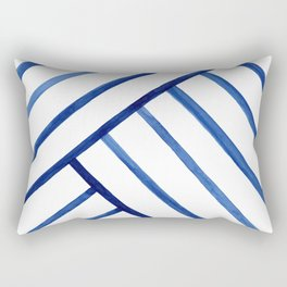 Watercolor lines pattern | Navy blue Rectangular Pillow