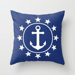 White Anchors & Stars Pattern on Navy Blue Throw Pillow