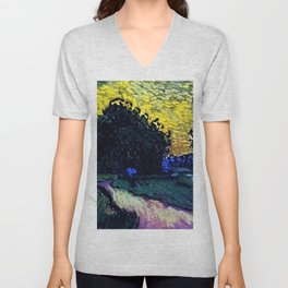 Field with Trees, the Chateau of Auvers by Vincent van Gogh Unisex V-Neck